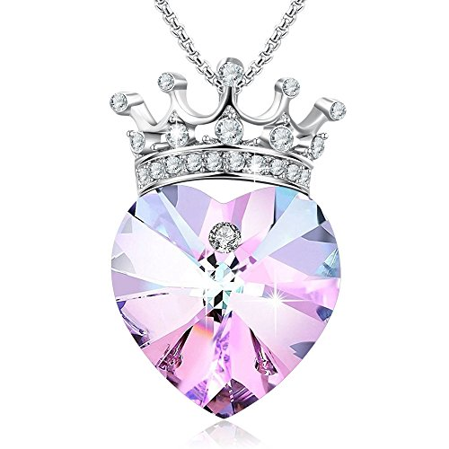 Kalapure Sterling Silver Princess Queen Crown Pendant Necklace for Women Girlfriend Pink Amethyst Heart Swarovski Crystals Necklace Wedding Birthday Jewelry (Crown Heart)