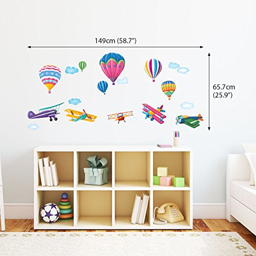 Decowall DW-1301 6 Hot Air Balloons & 5 Biplanes in the Sky Peel and ...