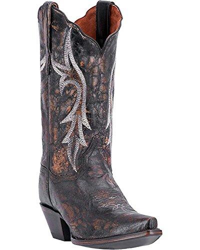 Leather Snip Toe Western Boots (Dan Post Women's Knockout Distressed Leather Western Boot Snip Toe Black 8.5 M)