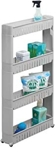mDesign Portable Slim Plastic Rolling Laundry Utility Cart, Storage Organizer Trolley - Easy-Glide Wheels and 4 Heavy-Duty Shelves, for Laundry, Utility Room, Kitchen or Pantry Storage - Gray
