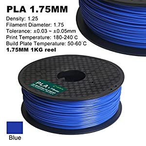 Century 3D PLA Printer Filament 1.75mm 1kg spool 2.2 pounds Dimensional Accuracy +/- 0.05 mm (Blue) by Century Products