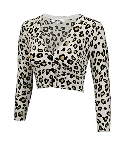 - YEMAK Women's Cropped Bolero 3/4 Sleeve Button Down Cardigan Sweater CO129LEO-IVR/TPE-XL
