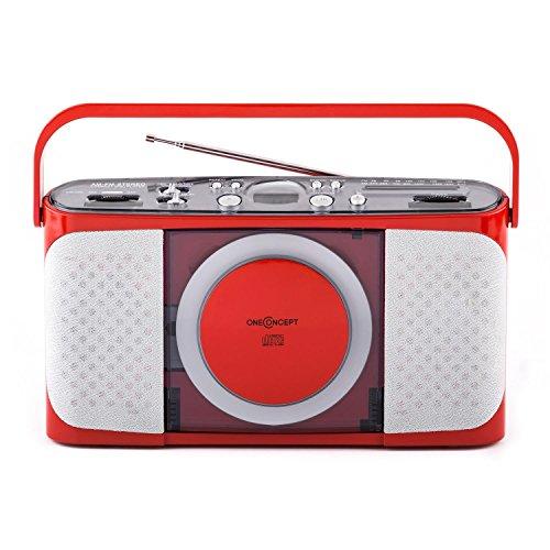 oneConcept Boomtown-Boy Tragbarer CD-Radiorekorder Küchenradio mit CD-Player (analoges UKW-Radio, Teleskop-Antennenradio, mit Batterie- und Netz-Betrieb) rot