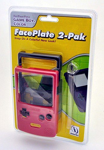 Game Boy Color FacePlate 2-Pack PINK & BLACK Snap On Style Replacement (Transparent Pink Color Faceplate)