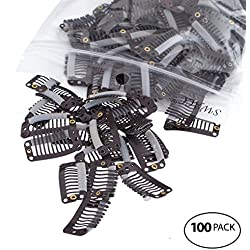 SWACC 100 Pcs U Shape Metailic Snap Clips ins for Hair Extension Hairpiece DIY Snap-Comb Wig Clips with Rubber (Brown, 9-Teeth 6 Holes)