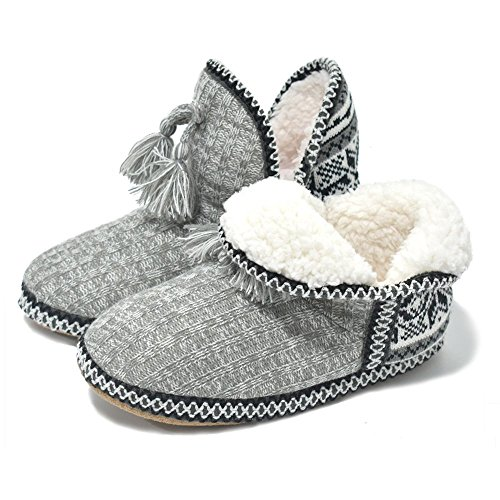(Women's Cashmere Knit House Slipper Booties Cotton Quilted Warm Indoor Ankle Boots Foam Insole Grey)