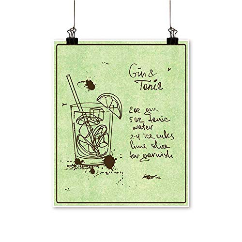 Wall Decor Drawn Sketch Gin Toni Cocktail inclu Recipe redients Wall Art for Bedroom Home,32