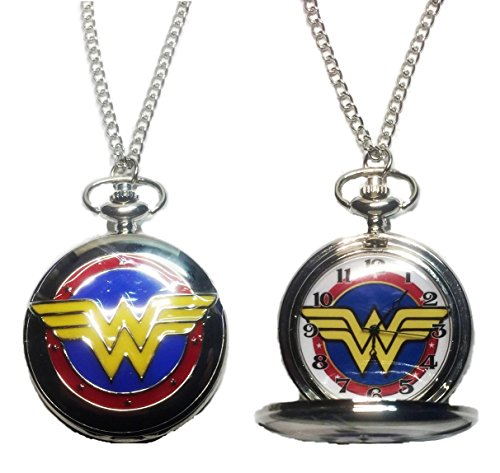 DC+Comics+Watches Products : DC's Wonder Woman Silver Tone Finish Pendant Pocket Watch