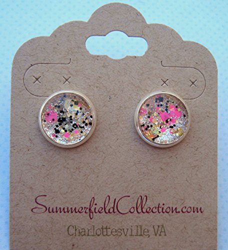 Silver-Tone Neon Pink Gold and Black Glitter Glass Stud Earrings 1/2