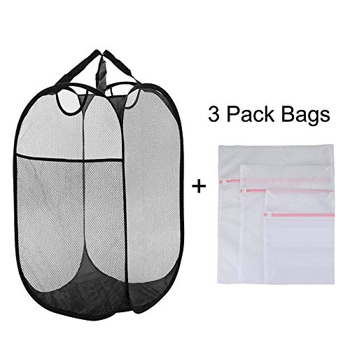 Large Mesh Pop-up Laundry Hamper, Laundry Basket with Side Pocket and Durable Handle, Foldable Collapsible Laundry Hamper with 3 Pack Mesh Washing Bags (Style 1)
