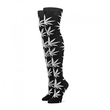 19c415bdc HUF SOCKS PLANTLIFE THIGH HIGH BLACK WHITE  Amazon.co.uk  Clothing