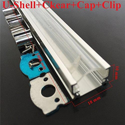 Ilistar 10m (10X1m) U Aluminum Case Shell Clear PC Cover Cap For 5050 5630 8520 Rigid LED Strip