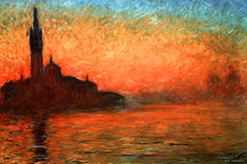 (Claude Monet Sunset Dusk in Venice Art Print Poster 36x24 inch)