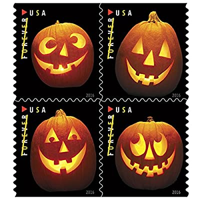 Jack o Lanterns USPS Forever First Class Postage Stamp U.S. Halloween Autumn Sheets ( 20 Pumpkin Stamps) (Book of 20): Toys & Games