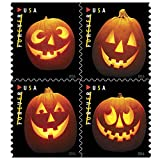 In the  Spirit of Halloween, the U.S. Postal Service® issues these delightfully eerie stamps featuring photographs of four different jack-o'-lanterns. These  creatively carved pumpkins  have been symbols of Halloween in the United Sta...