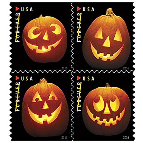Jack o Lanterns USPS Forever First Class Postage Stamp U.S. Halloween Autumn Sheets ( 20 Pumpkin Stamps) (Book of - Issue Collectors Plate