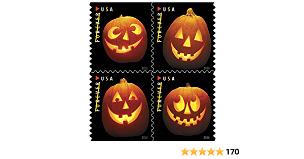Jack o Lanterns USPS Forever First Class Postage Stamp U.S Halloween Autumn Sheets Book of 20 20 Pumpkin Stamps