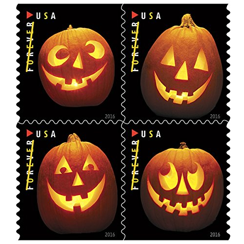Shipping Free Halloween (Jack o Lanterns USPS Forever First Class Postage Stamp U.S. Halloween Autumn Sheets ( 20 Pumpkin Stamps) (Book of)