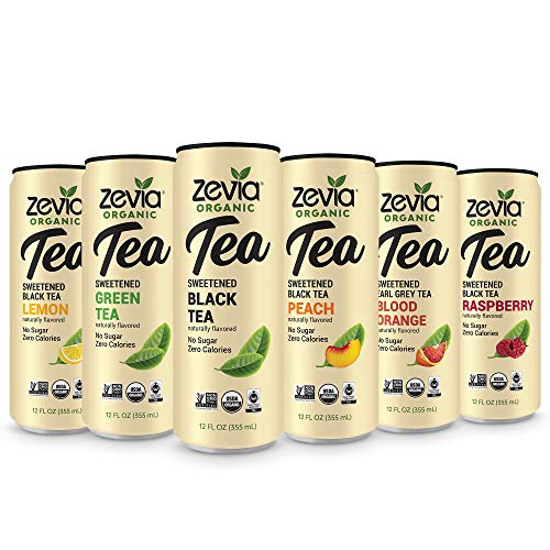 - Zevia Organic Tea Time Variety Pack, 12 Count, Sugar-Free Brewed Iced Tea Beverage, Naturally Sweetened with Stevia, Zero Calories, No Artificial Sweeteners