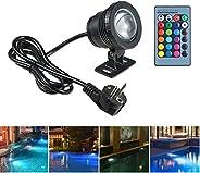 Ajcoflt 20W RGB LEDs Luz subaquática Lâmpada submersível com função de memória de controle remoto 16 cores Fla