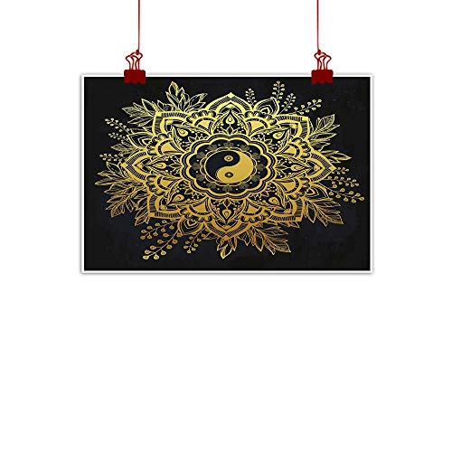 J Chief Sky Canvas Wall Art Gold Mandala,Indian Garden Flower in Crown of Leaves Yin and Yang Symbol Twigs Blooms,Dark Blue Gold 24
