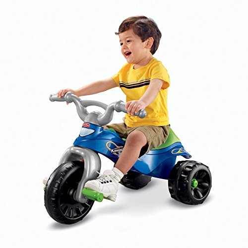 51mrJmEuuZL - Fisher-Price Kawasaki Tough Trike, Blue/Green
