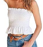 Faithtur Women's Sexy Strapless Sleeveless Pleated Tube Top Crop (One Size/US XS-M 2-8, White)