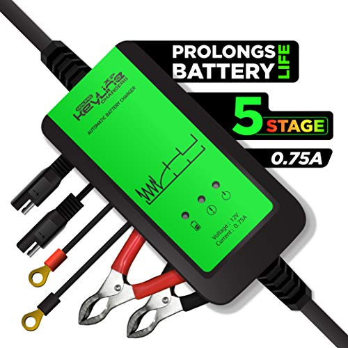 Trickle Charger 12V - Automatic Battery Maintainer Tender Desulfator | 5 Stage Smart Conditioner for Perfect Battery Charging & Maintenance Great for Motorcycle Jetski etc. by KeyLine Chargers USA