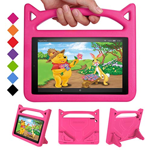 New Fire HD 10 Tablet Case 2019/2017 - SHREBORN Light Weight Shock Proof with Stand Kid Proof Cover Kids Case for All New Amazon Fire HD 10 Tablet(9th/7th/5th Generation, 2019/2017/2015 Release)-Pink