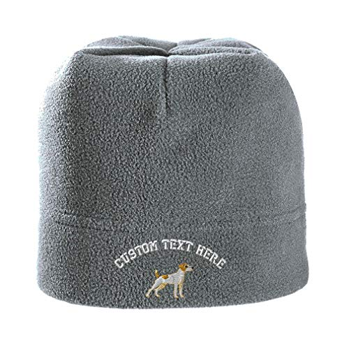 Custom Text Embroidered Jack Russell Terrier Dog #1 Unisex Adult Polyester/Spandex Stretch Fleece Beanie Skully Hat - Light Grey, One Size