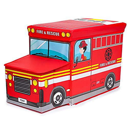 Toy Box Kids Storage Bin G Bundle Car Model Fold-able Stool Toy Chest (Fire Truck) by G Bundle