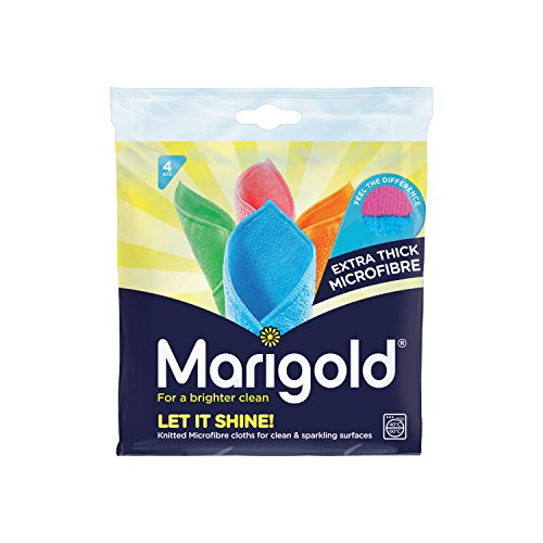 MARIGOLD Let it Shine Extra Thick Microfibre (5 Packs of 4 Cloths - 20 Total), 18.5 x 3.8 x 20 cm, Multicolour, 5 Pack