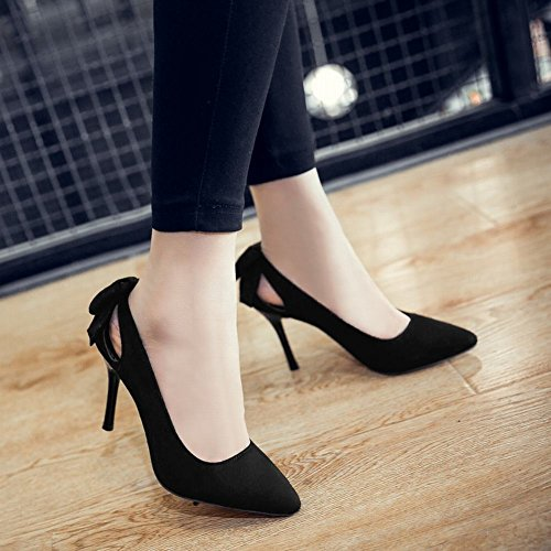MissSaSa Damen elegant Stiletto Pointed toe Schleife Pumps Schwarz