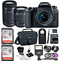 Canon EOS 77D SLR w/ 64GB, 4 lens kit (18-55mm, 55-250mm, 58mm Wide & Telephoto)
