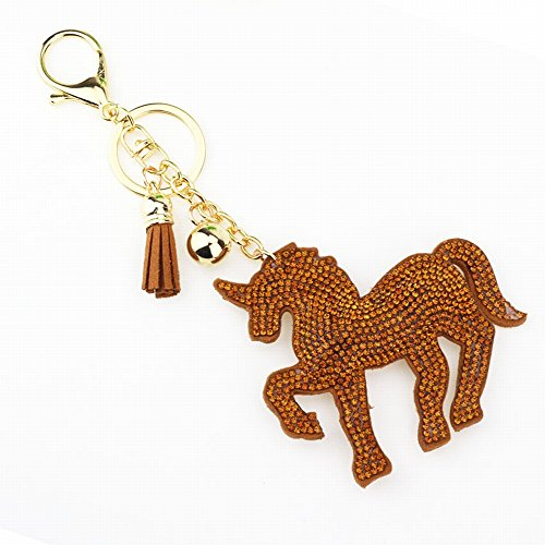 - UNICORN HORSE LARGE SIZE WITH AMBER CRYSTALS OVER CHOCOLATE BROWN LEATHER AND TASSLE KEYCHAIN NECKLACE PURSE JOB LANYARD DIY PROJECT ETC