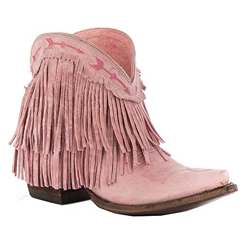 - Lane Junk Gypsy Women's Spitfire Mustard Fringe Booties Snip Toe Light Pink 9 M