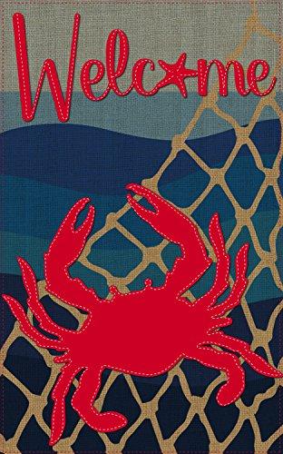 [Evergreen Flag Coastal Crab Burlap House Flag, 28 x 44 inches] (Welcome Crab)