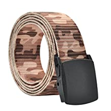Faleto Mens Military Webbing Automatic Buckle Plastic Nylon Belt