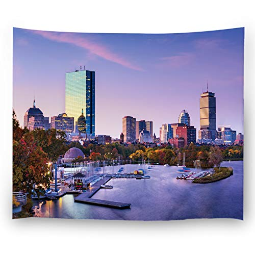 Misscc Home Decor Tapestry,Wall Hangings Dusk View with Boston Massachusetts USA Skyline Wall Tapestries Bedroom Living Room - Usa Wall Boston