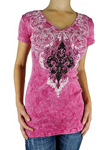 SugarRock Sugar Rock Women Shirt Crystal Rhinestone Fleur Tattoo Short Sleeves Mineral Wash ()