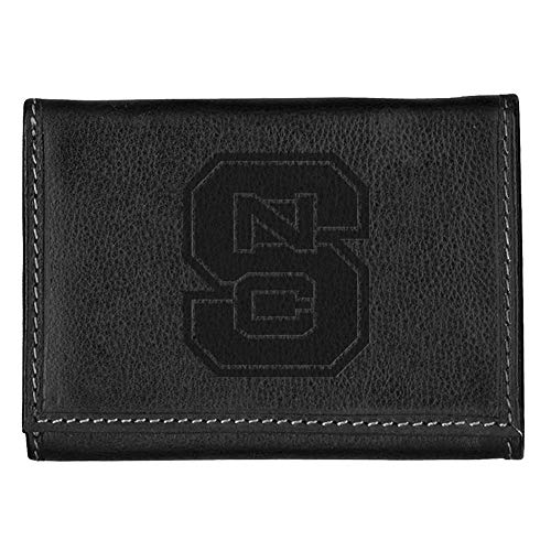 Carolina Sewn NCSU NC State Wolfpack Leather Tri-Fold Wallet Black Trifold