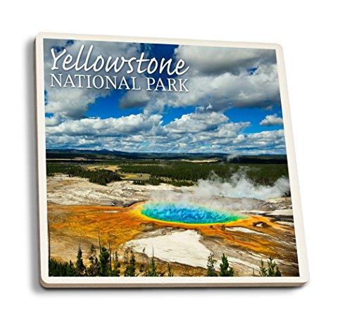 Lantern Press Yellowstone National Park - Grand Prismatic Pool (Set of 4 Ceramic Coasters - Cork-Backed, Absorbent)