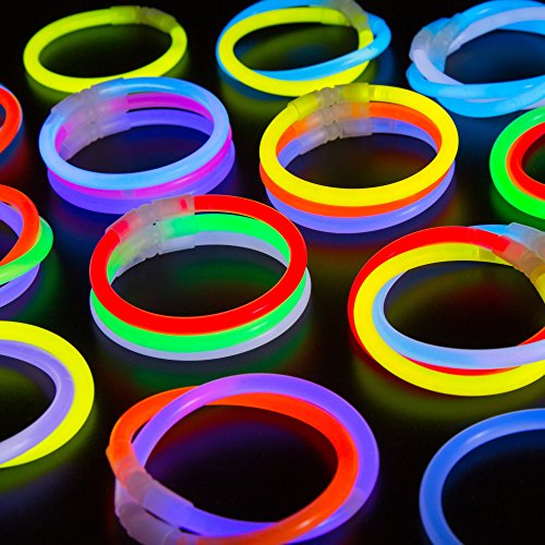 CoBeeGlow 100-Pack Glow Stick Bracelet Bulk Pack of 8 Inch Glowstick with Connectors | Non-Toxic and Safe for Kids| 6mm Thick for More Glow: Bring Joy to Your Life This Halloween