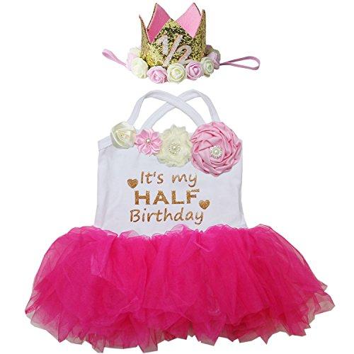 (Kirei Sui Baby Half Birthday Tulle Tutu Bodysuit Tutu M Hot Pink)