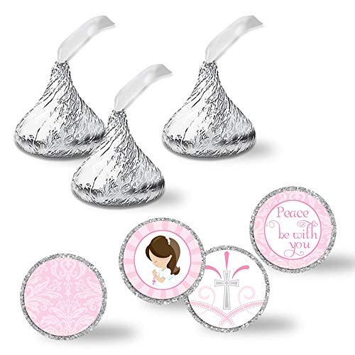 Communion Mint - First Holy Communion Religious Kiss Sticker Labels for Girls, 300 Party Circle Sticker sized 0.75