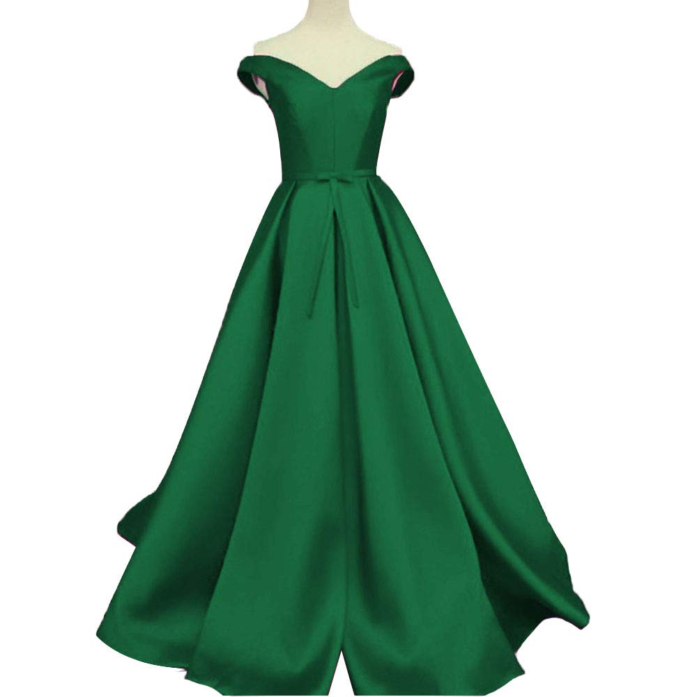 Dark Green Promworld Women's Off the Shoulder Evening Dress Satin Lace Up A Line Prom Formal Dress