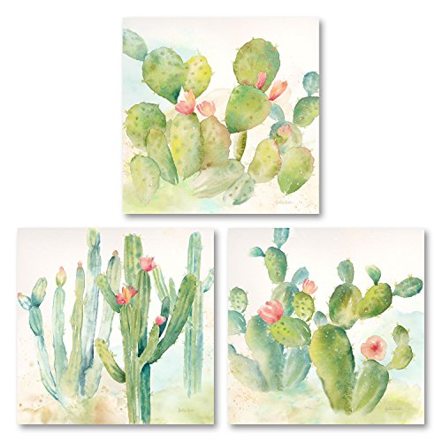 Roaring Brook Lovely Watercolor-Style Desert Cactus Print Set by Cynthia Coulter; Three 12x12in Unframed Paper Posters