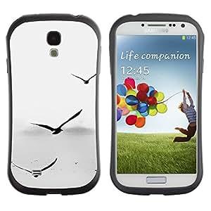 LASTONE PHONE CASE / Suave Silicona Caso Carcasa de Caucho Funda para Samsung Galaxy S4 I9500 / Seagulls Grey Minimalist Sea Captain Birds