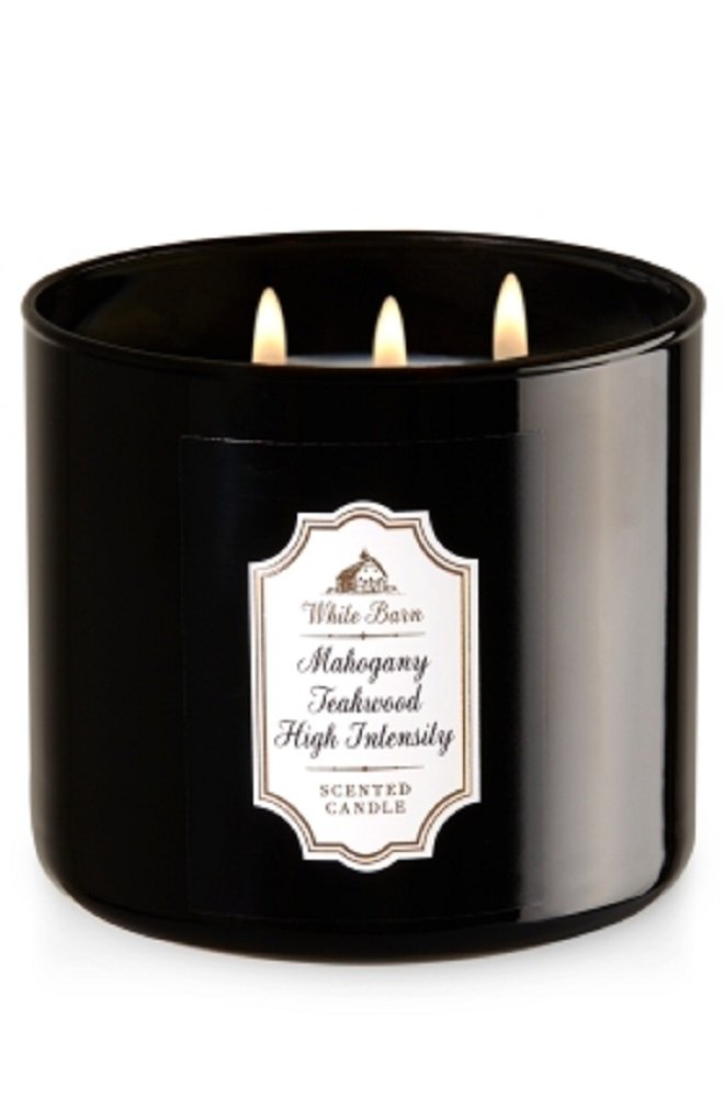 Bath & Body Works White Barn 3-Wick Candle in Mahogany Teakwood High Intensity