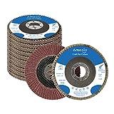 "amoolo Flap Disc 4-1/2 inch 7/8"" Aluminum Oxide Angle Grinder Sanding Disc 80 Grit Grinder Disc T29-10 Pack"